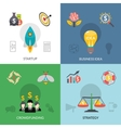 Startup crowdfunding 4 flat square banner vector image vector image