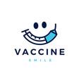 vaccine smile injection virus covid19 19 logo icon vector image