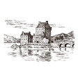 vintage castle in scotland graphic monochrome vector image vector image