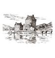 vintage castle in scotland graphic monochrome vector image
