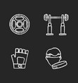 weightlifting chalk white icons set on black vector image vector image