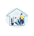 woman watering house plants stay home stay safe vector image vector image
