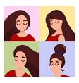 women portraits set vector image