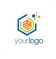 polygon data digital technology logo vector image