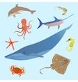 Cute ocean animals simple creatures Octopus vector image
