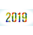2019 year paint splashes gradient font vector image