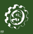 3d gear and green dollar symbol Business and vector image