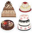 4 cakes vector image