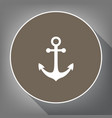 anchor icon white icon on brown circle vector image vector image