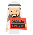 arab men with sale sign on white background