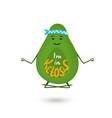 avocado cartoon character is meditating in lotus vector image vector image