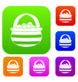 basket with cranberries set collection vector image
