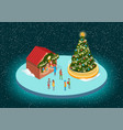 christmas fair with fir-tree and shop-fairs vector image vector image
