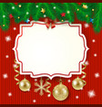 christmas label and baubles on knitted background vector image vector image