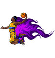 color basketball player throws the vector image vector image