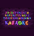 color neon font set vector image vector image