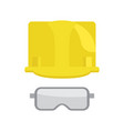 construction helmet and protective glasses vector image