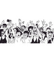crowd of excited people or music fans with raised vector image