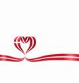 danish flag heart-shaped ribbon vector image vector image