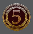 fifth happy anniversary celebration logo symbol vector image
