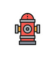 fire hydrant flat color line icon vector image