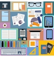 Flat design of office space and objects vector image
