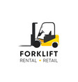 forklift logo for retail shop rental and repair vector image vector image