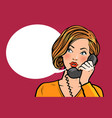 girl or young woman talking on the phone vector image
