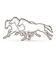 group horses running cartoon graphic vector image vector image