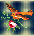 hand drawn bird flying with flower roses tropical vector image vector image