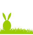 happy easter green egg with bunny ears on grass vector image