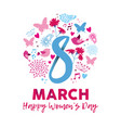 happy womens day 8th march floral decoration card vector image vector image