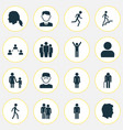 human icons set collection of gentleman happy vector image