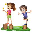Kids playing above the stumps vector image vector image