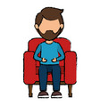 man in cinema chair vector image