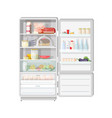 modern opened refrigerator full of various food - vector image vector image