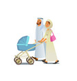 muslim family walking with baby carriage vector image