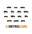 Retro icons set different silhouette shape cars