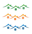 roof house set color icon vector image vector image