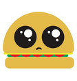 sad vegi burger on white background vector image