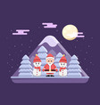 santa claus with snowman standing on snowy night vector image