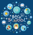 School Education Flat Icons and Text Heading vector image