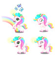set cute magic sweet unicorns with mane vector image