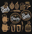 set elements for beer labels design beer mugs vector image