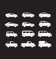 set of white cars icons - stock vector image