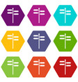 street sign icon set color hexahedron vector image vector image