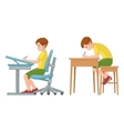Student boy writing Incorrect and correct back vector image vector image