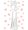 Stylish woman in a long gown among roses vector image vector image