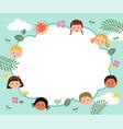 template with cartoon happy kids vector image vector image
