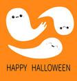 three flying ghost spirit set happy halloween vector image vector image